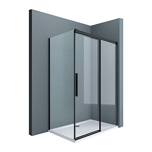 doporro Cabina de ducha esquinera negra 90x120x195cm diseño Rav12 vidrio de seguridad transparente cierre suave, entrada lado derecha e izquierda