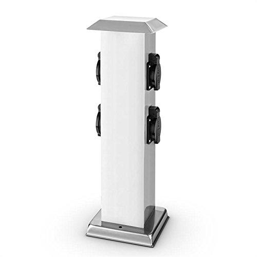 Waldbeck Plug 4 Play Square - Presa Elettrica a Colonna, Presa Elettrica a Colonna da Giardino, 4 Prese di Corrente, Protezione dagli Spruzzi IP-44, Carico 3500W, Colore Bianco-Nero
