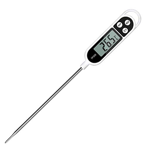 Digitale Küchenthermometer, Nasharia Haushaltsthermometer Kochthermometer mit langer Sonde, Sofort Lesbar LCD-Bildschirm, Korrosionsschutz Ideales Haushaltsthermometer für Küche Kochen, Babyernährung