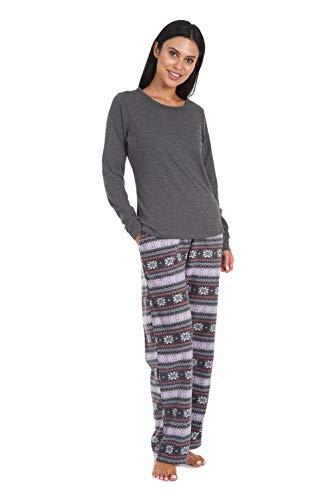 Cherokee Women's Soft Pajama Shirt and Pants Set, Grey Fairisle, Small