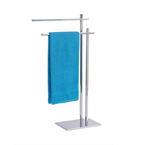 Wundergut Handtuchständer - Edler Handtuchhalter in Edelstahl - Optik und extra schwerer Bodenplatte Towel Stand mit 2 Stangen