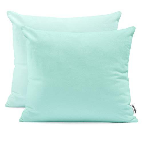 DecoKing 2 fundas de almohada de 50 x 60 cm, jersey de algodón, con cremallera, color turquesa claro y ámbar