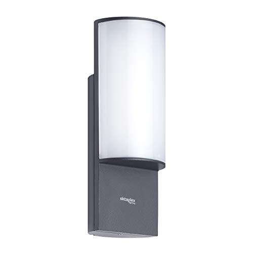Oktaplex Lighting LED Außenwandleuchte Belo 10W IP54| Aluminium Aussenleuchte 3000K Warmweiß | Wand Aussenleuchte Anthrazit