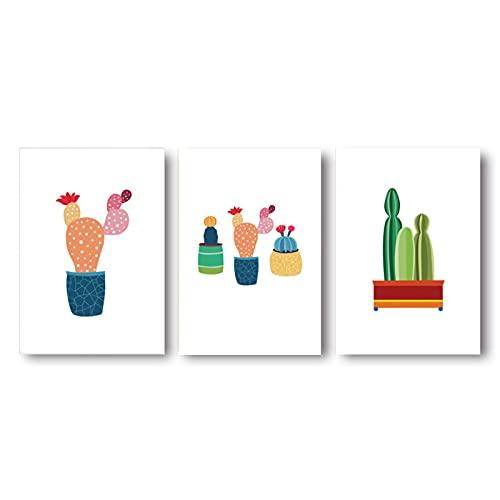 3 Panel Cactus Canvas Muur Art voor Kids Speelkamer Kind Muur Art Prints Leuke Foto's voor Slaapkamer Decor Schilderijen…