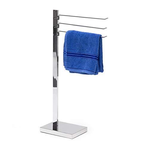 Relaxdays Handtuchständer verchromt HBT 78 x 18 x 25 cm Handtuchhalter freistehend mit 3 Armen frei drehbare Handtuchstangen Badetuchhalter aus verchromtem Stahl mit Bodenplatte aus Kunststoff, silber
