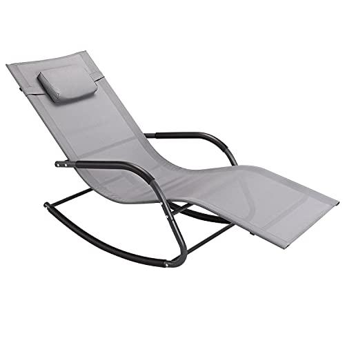 Wostore Tumbona mecedora para patio, tumbona con cama reclinable para dormir, incluye almohada y tela transpirable, color gris