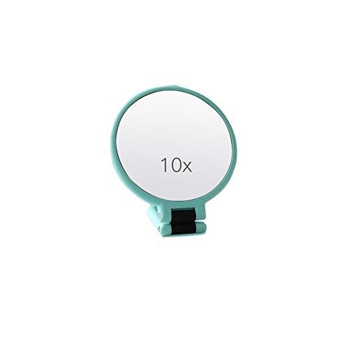 SLCN Miroir de Maquillage Grossissement 10x avec Poignée, Rotation à 360 Degrés, Miroir de Maquillage Portatif Double Face,Green