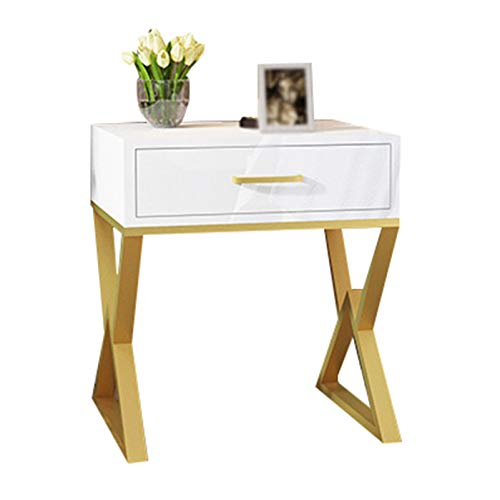 HOUSEHOLD Metal bedside table, bedside storage locker, with drawers, coffee table, multi-function bedside shelf, durable, living room coffee table, used in office, dormitory