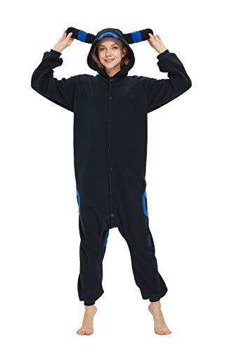 Unisex Adult Onesie Animal Pajamas-Halloween Umbreon One Piece Plush Cosplay Costume Sleepwear
