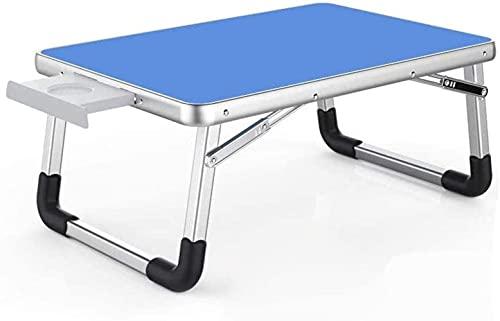 Pkfinrd Mesa Plegable de la Bandeja de la Cama del Ordenador portátil, Soporte de la Cama portátil, Mesa de pie portátil con Las piernas Plegables Tableta de Regazo Plegable (Color : Blue, Size : L)