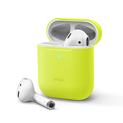 elago Skinny Case Cover Compatible with Apple AirPods 1 & 2 - Upgraded Premium Silicone, Ultra Thin, No Hinge, Front LED Visible, Supports Wireless Charging (without Carabiner, Neon Yellow)