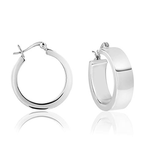 DTPsilver - Boucles d'oreilles Femme Créoles Épaisses en Argent Fin 925 – Épaisseur 3 mm - Largeur: 8 mm - Diamètre: 25 mm