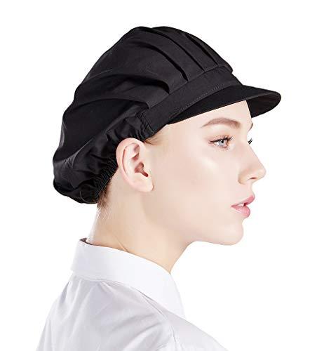 Nanxson  3 Stück Kochmütze einfarbig elastiche Staubmütze Arbeitsmütze Kopfbedeckung Arbeitshut CF9035, L, Schwarzx3