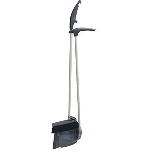 """NewFerU Upright Standing Dustpan and Brush Set Dust Pan Broom Combo Sweep Cleaning Tool Organizer with Long handle Rubber Lip for Lobby Kitchen Garden Garage Outdoors Indoor 36"""""""