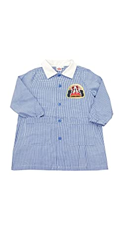 Grembiule scuola materna asilo Disney Mickey Mouse per bambino (Quadri cieloTH6556, 55-4 ANNI / 104 CM)