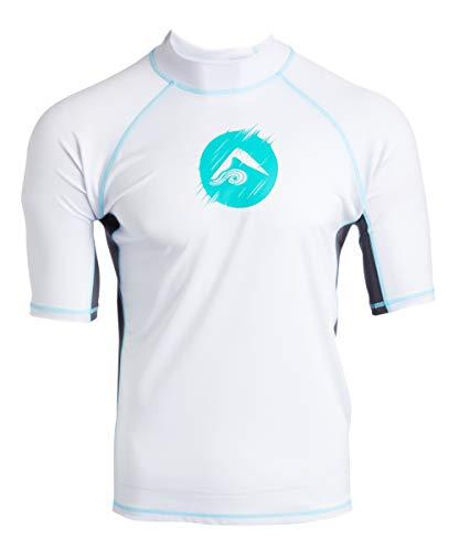 Kanu Surf Men's Mercury UPF 50+ Short Sleeve Sun Protective Rashguard Swim Shirt, Dolphin White, Large