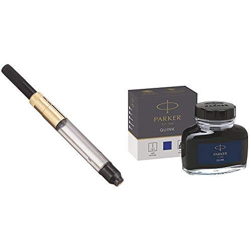 Parker Deluxe GP Converter - Recambio para bolígrafos y plumas + tintero de tinta líquida Quink para plumas estilográficas, 57ml, en caja, color azul