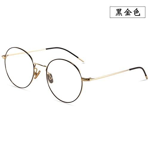 LLZTYJ Gafas De Sol/Viento/Luz/Coche/Cumpleaños/Regalo/Decoración/Gafas De Protección Radiológica Gafas De Mujer Gafas De Blu-Ray Gafas Redondas Gafas Planas Masculinas, Oro Negro