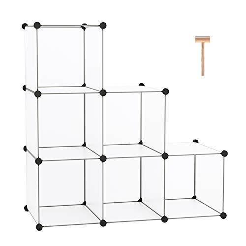 C&AHOME Cube Storage Organizer, 6-Cube Shelves Units, Closet Cabinet, DIY Plastic Modular Book Shelf, Ideal for Bedroom, Living Room, Office, 36.6' L x 12.4' W x 36.6' H Translucent White
