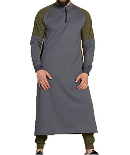 PDYLZWZY Herren Kapuzenpullover, Muslimisches Kleid, islamisches Kaftan, Abaya Thobe Männer Thobe Mens Arabic Muslimische Kleidung (Grau, M)