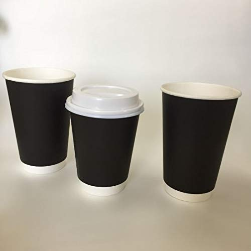 16oz Black Double Wall Coffee Cups With White Lids, Double Wall Black And Coffee Disposable To Go Paper Coffee Cups For Office, Parties, Home, And Travel, No Leakages, Biodegradable (250)