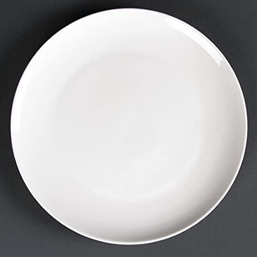 Lumina CD627 Lot de 6 assiettes rondes en porcelaine fine Blanc