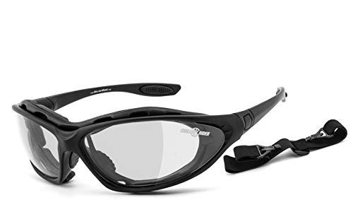 Chillout Rider | beschlagfrei, winddicht, selbsttönende HLT® Kunststoff-Sicherheitsglas nach DIN EN 166 Bikerbrille, Motorradbrille, Multifunktionsbrille | schwarz, CR002-as