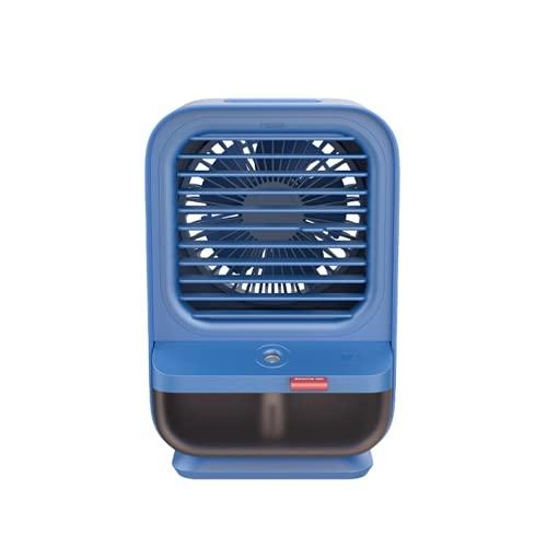 Enfriador Aire Portátil Pequeño Acondicionado USB Ventilador Oscilante Escritorio Verano Personal Water Humidificador Evaporativo LED Luz Noche Para El Hogar Oficina Escuela Camping Playa (Azul)