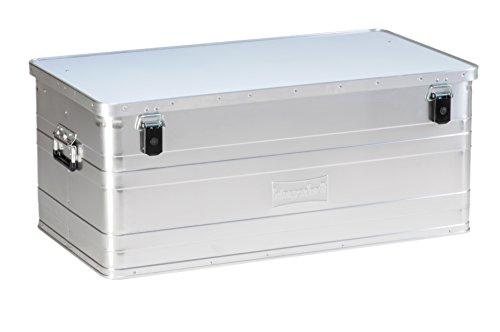hünersdorff Aluminium-Box 140 Liter, spritzwassergeschützt, mit Gummi-Dichtung, leicht, stabil, Klapphandgriffe, Vorbereitung für Schlösser, Farbe: silber