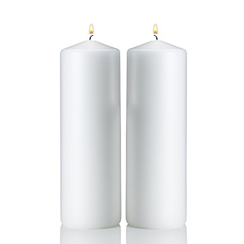 Light In The Dark White Pillar Candles - Set of 2 Unscented Candles - 9 inch Tall, 3 inch Thick - 90 Hour Clean Burn Time