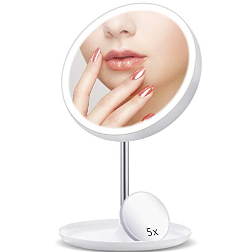 GLIME Lighted Makeup Mirror,LED Mirror Lights,Vanity Makeup Mirror with 5X Magnifying Glass 3 Color Mode Touch Controls Natural White Daylight Rechargeable,for Indoor ,Room,Gift,Festival