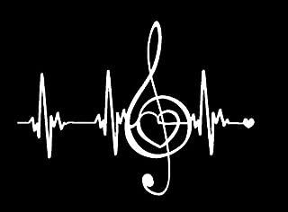 Music Makes My Heart Beat NOK Decal Vinyl Sticker |Cars Trucks Vans Walls Laptop|White|7.5 x 5.5 in|NOK148