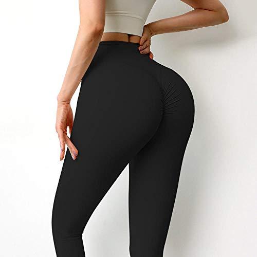 Deportivos Leggins con Bolsillos para,Leggings de Mujer para Fitness Nylon Pantalones Largos de Cintura Alta Hip Push Up Tights-Black_XL