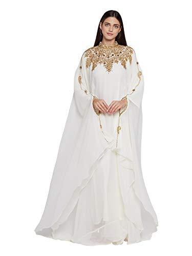 ANIIQ Georgette Abendkleid mit besticktem Farasha Kaftan, lang, mit Hijab SNM804, Ganz bedeckt, weiss, Einheitsgröße
