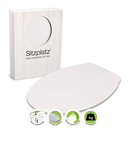 SITZPLATZ WC Sitz Palermo in Weiß - Thermoplast Toilettensitz - WC Brille mit Fast-Fix-Schnellbefestigung - Toilettendeckel mit Kunststoff-Scharnier