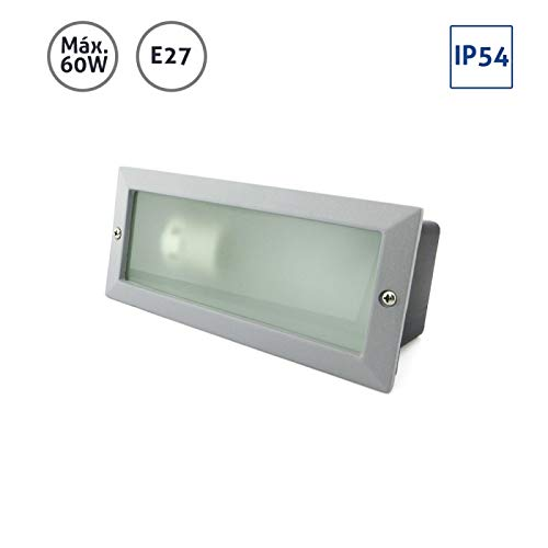 Baliza rectangular aluminio plata con cristal mateado 60W E27