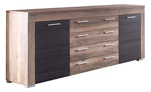 Newfurn Sideboard Kommode Natur Anrichte Highboard Mehrzweckschrank II 176x79x 40 cm (BxHxT) II [Alica.Eight] in Nussbaum Satin/Nussbaum Satin Wohnzimmer Schlafzimmer Esszimmer