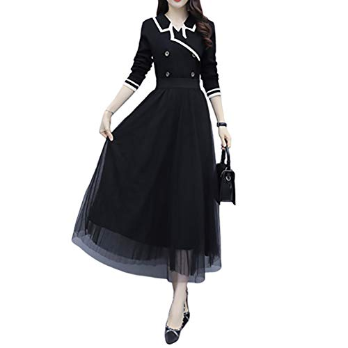 Damska czarna sukienka dorywcza, wiosna jesień temperament netto przędzy dolnej spódnicy długiej spódnicy (Kolor : Czarny, Rozmiar : L)