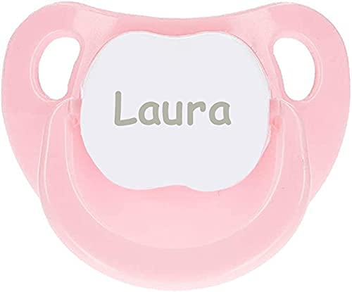 BebeDeParis | Regalos Originales para Bebés Recién Nacidos | Chupete Personalizado con Nombre (Rosa)