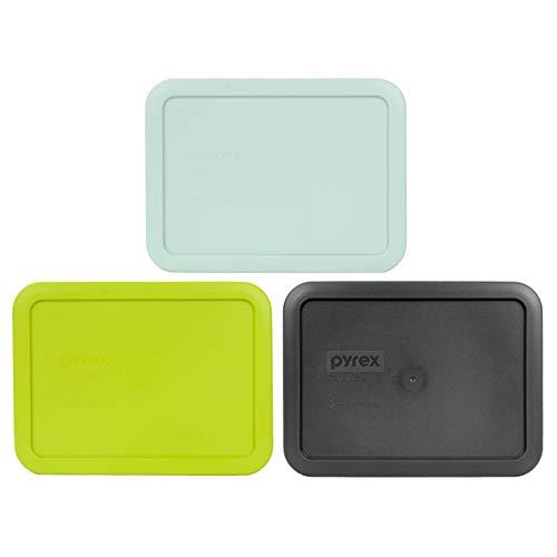 Pyrex 7210-PC 3 Cup (1) Muddy Aqua (1) Green Edamame (1) Charcoal Grey Rectangle Plastic Lids
