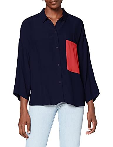 Le Mont Saint Michel Contrasting Color Shirt Blouse, Bleu (Navy Navy), (Taille Fabricant: 42) Femme