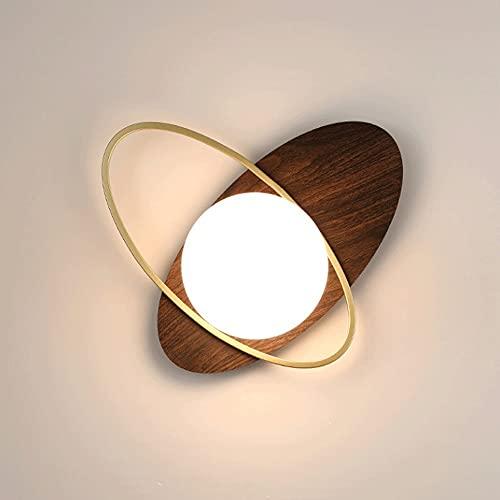 Lámpara de pared Creativity Globe, lámpara de pared de grano de madera de nogal negro con pantalla esférica de vidrio, apliques de pared de simplicidad moderna para sala de estar, restaurante, cafeter