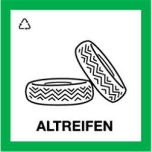 Schild Wertstoffkennzeichnung ALTREIFEN PVC 30 x 30cm