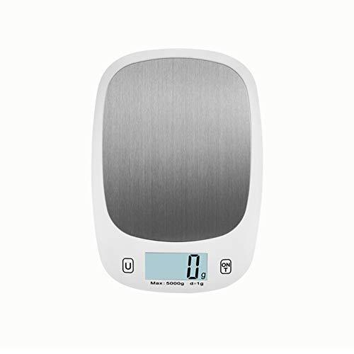 CHICTI Báscula Digital de Cocina - Aparato de Cocina electrónico de diseño Delgado para el hogar/Cocina, Pesa Alimentos de hasta 5 kg Pequeño (Color : White)