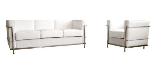 Baxton Studio Le Corbusier-Style Petite Sofa/Chair Set, White
