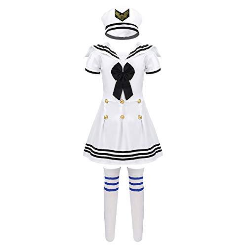 inlzdz Kinder Matrosen Kostüm Mädchen Sailor Uniform Kurzarm Matrosenkleid mit Hut Socken Seemann Cosplay Karneval Fasching Tanzkostüm Schwarz&Weiß 98-104