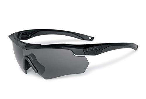 ESS - Juego de 2 gafas de sol con lentes intercambiables, transparentes y ahumadas, color negro