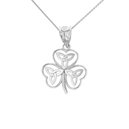 925 Sterling Silver Irish Shamrock Pendant Necklace with Celtic Trinity Knot (22')