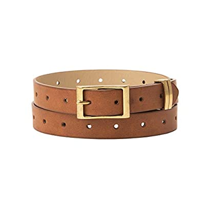 Jessica Simpson Women's Fashion Casual Belt, Tan Perforated, Medium