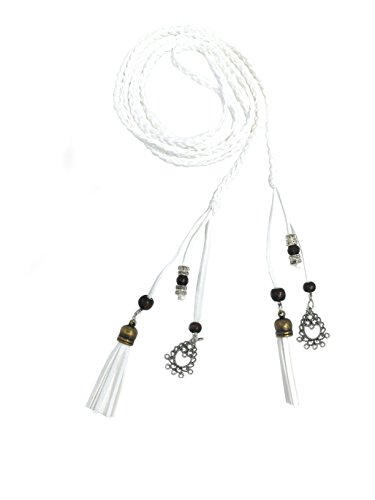 Exotic Women Waist Belt/ Rope/Chain with Tassel and Beads in 8 Colors (white)